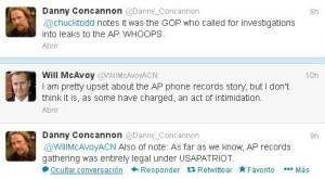 Conversación en Twitter entre los perfiles de Will McAvoy y Danny Concannon